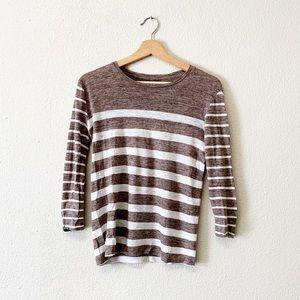 Madewell Linen Blend Striped Long Sleeve